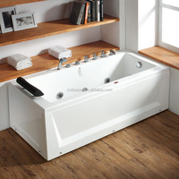 Cheap Small Acrylic Double Apron White Indoor Corner Whirlpool Bathtub (CA-F7025)