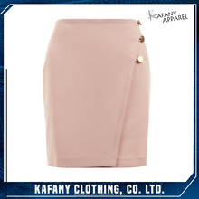 Hot Fashionable Sexy Mature Women With Short Skirt In Short Pink Button Top Wrap Front Mini Skirt