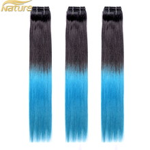 High Quality Unprocessed Double Drawn 100% Real Remy Clip In Ombre Human Hair Extension Light Blue