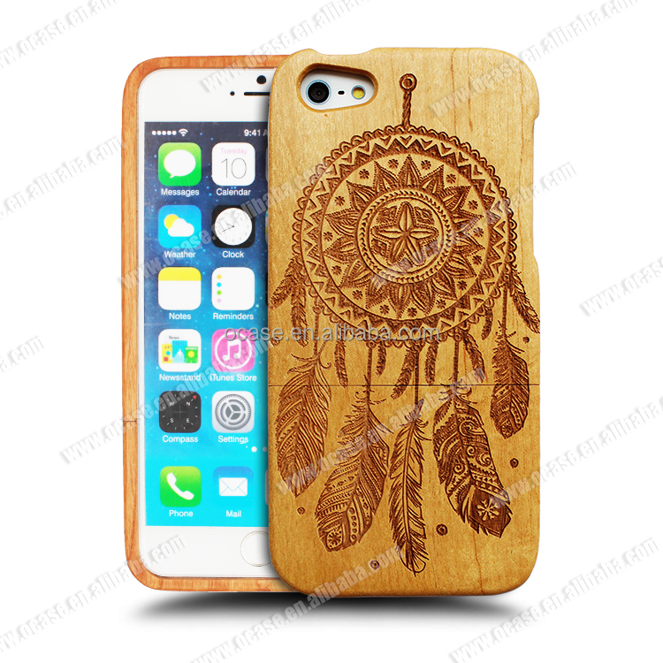 Hot selling Ocase Pretty Dreamcatcher Laser Engraving PC/TPU Wood two in one phone case for Iphone 6