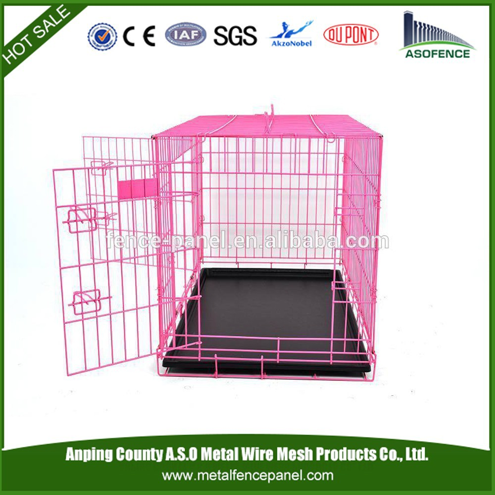 alibaba china hot sale secure steel dog cage / pet house / Folding Wire Dog Cage with double door ( Factory & ISO9001 )
