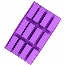 Silicone Soap Mold Soap Making Tool DIY Mold 12 Cavity Rectangle Cake Making