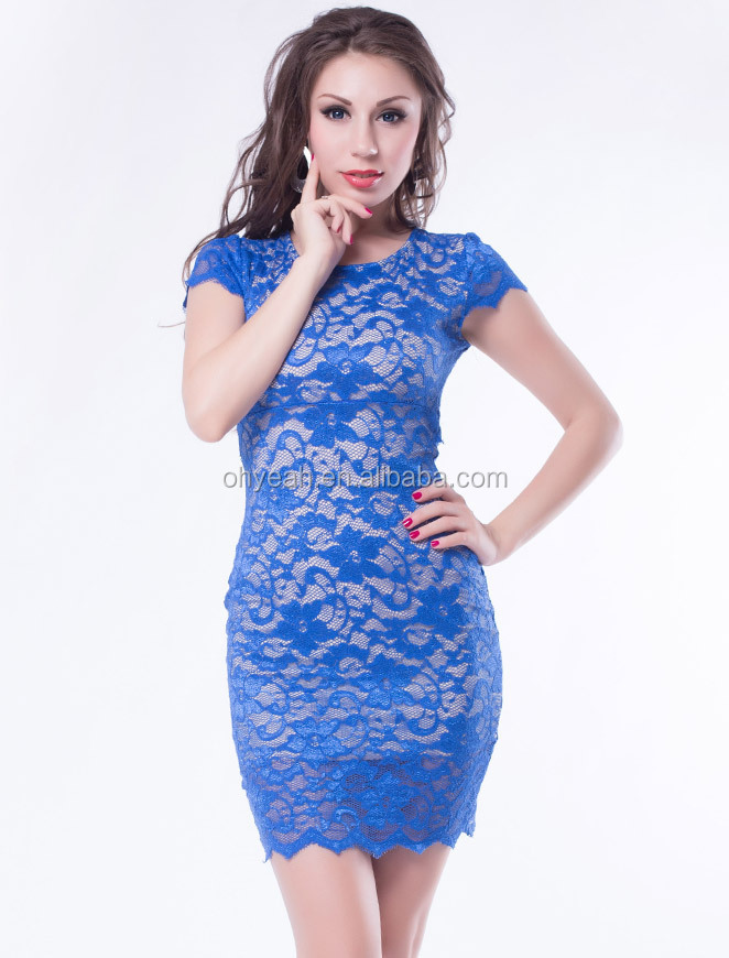 Top Quality With Wholesale Price Royal Blue Key-hole Back Knee Length Lace Evening Dress