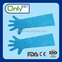 Grade A long sleeve dark blue PE disposable glove with OEM