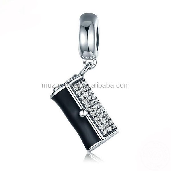 Real 925 Sterling Silver Clearly AAA CZ Black Enamel Wallet Charm fit European Bracelet
