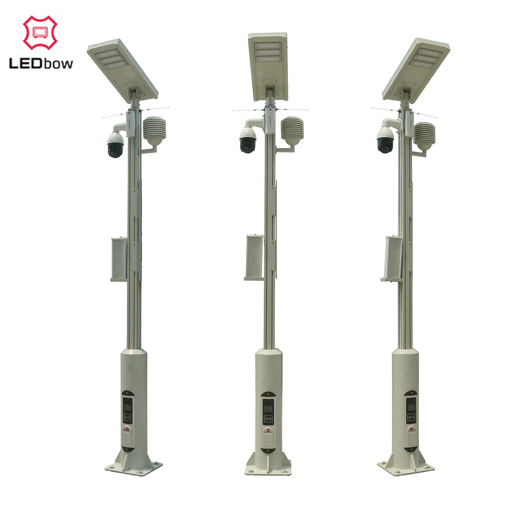 LEDbow Aluminum Integrated Smart LED Street Lighting Pole for smart city with central management system