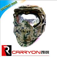 Hot selling tactical Airsoft Paintball Face Mask Protection double lens full Face Mask with Goggles