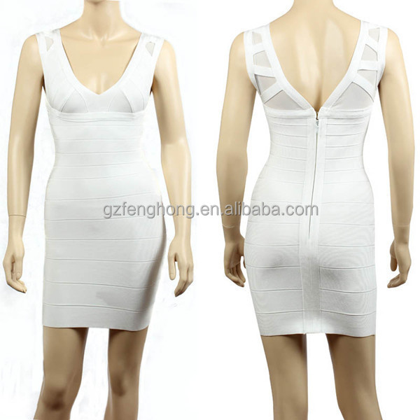 Fashion white V-neck sexy bandage dress 2015 for lady wholesale vestido de fiesta