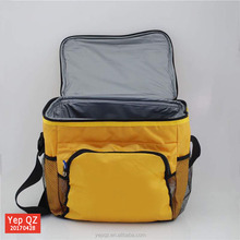 Customized large size yellow color blank tote wine bottle cheap collapsible cooler bag with pocket
