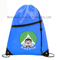 Custom silk printed drawstring polyester gym bag for sports