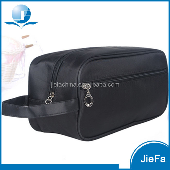 Custom travel fashion pu polyster canvas makeup toiletry mens cosmetic bag