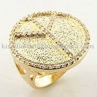 Wholesale Gold Plated Brass Ring Zirconium