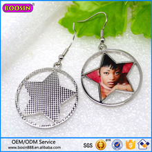 Custom metal alloy jewelry bulk earring, coin charm earring, star earring