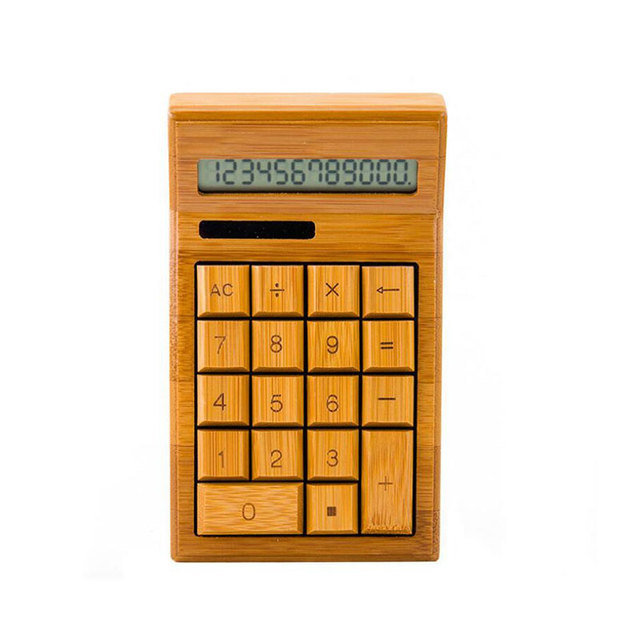 2018 China Aliexpress Nature Bamboo Solar Battery LCD Display Office Giveaway Calculator With 12 Digit