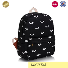 Women ultra light black backpack with white eyes print