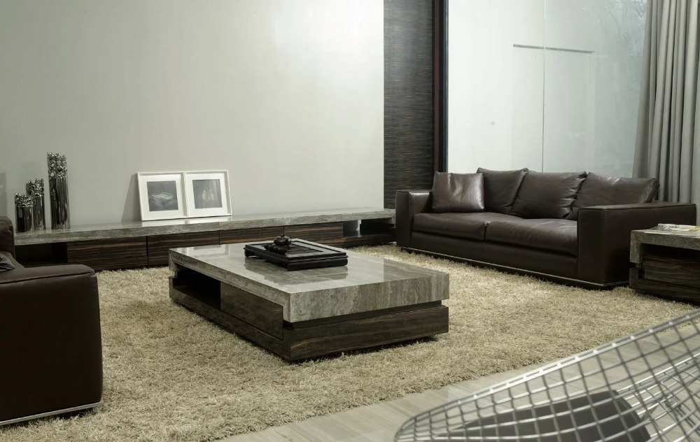 Square Shape Elegant Design Ebony Veneer Coffee Table With Wooden Base and Grey Travertine Stone Top