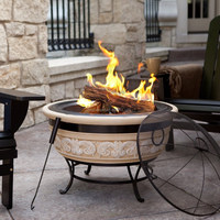 30 Inch Angel Wings Outdoor/Garden Fire Pit with Steel Base,Wood Burning