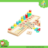 Baby Early Educational Toys Montessori Materials Wooden Math Blocks Shape Sorter Knob Puzzle Learning