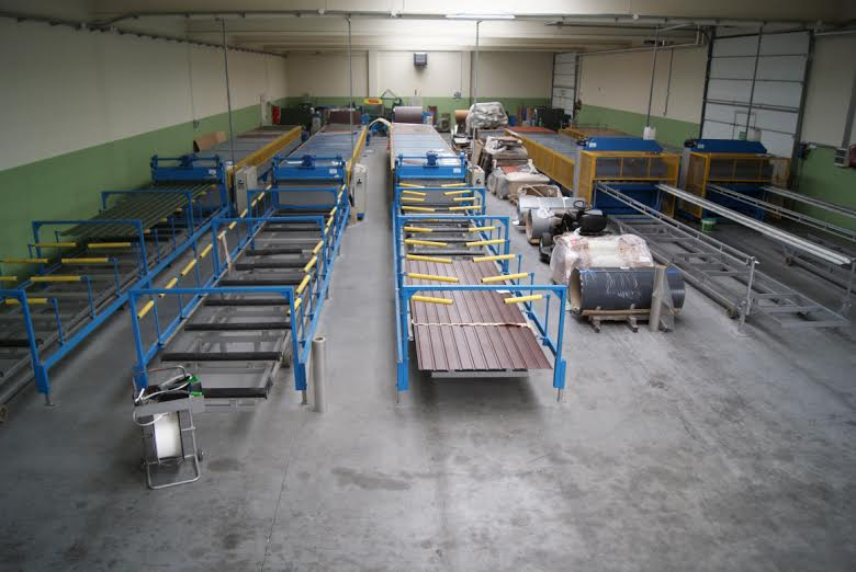 Complette set of production lines for manufacturing of steel roofings, metal sheet, roofing-tile