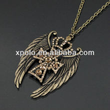 "30"" long/cross/wing/crown/metal alloy plating neckace"