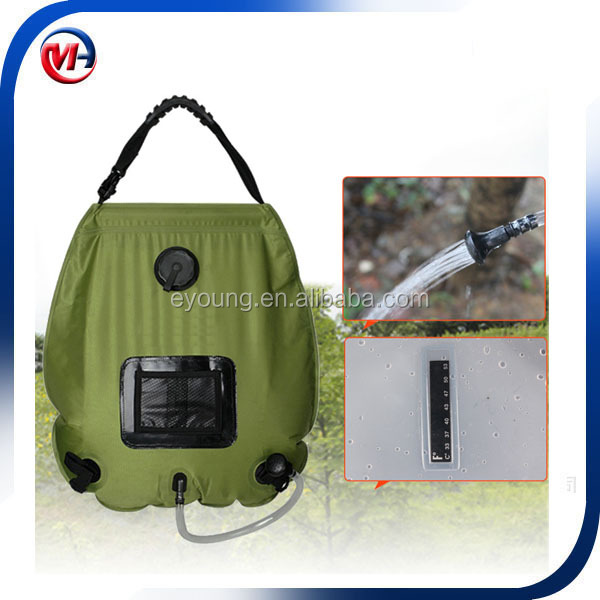 new 20l portable outdoor camping hiking solar energy heated camp shower with temperature