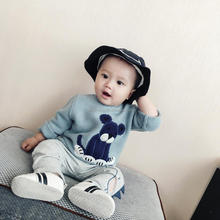 Wholesale bunny ear fashion cotton knitted baby kids hooded sweater