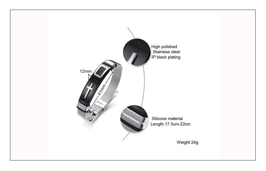 Meaeguet Stainless Steel Cross Charm Bracelet & Bangle Men Adjustable Watch Bands Wristband Bracelet Christian Jewelry (8)