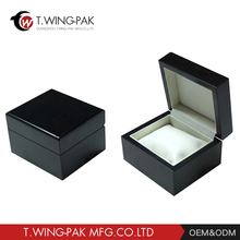 Black Leather Single custom wooden watch box