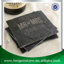 Handmade 12*9*0.5cm Rectangle Black Slate Placemats And Coaster With Laser Design(Customized ) Tea & Coffee Requirements