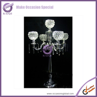 #K4562 wholesale centerpieces crystal candelabra centerpiece with flower bowl