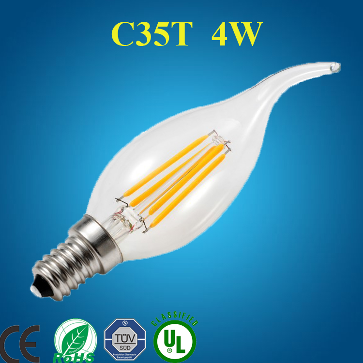 C35T 2w flame shape popular replace incandlescent bulb 25W equal glitter candle light