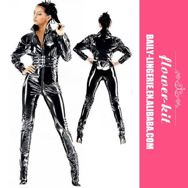 Hot Sale Sexy Black Latex Lingerie Women Erotic Catsuit With Zipper Front