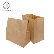 China supplier disposable brown kraft punching paper bags with die cut for fast food