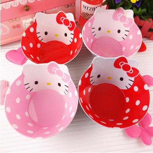 6M+ Hello Kitty Kids Melamine Bowl Safe Tableware for Children Baby Dishes Plate
