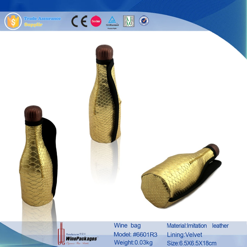 china wholesale charming leather carrier, manufacturer zipper golden wine bag