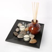 New Design Home fragrance Aroma Reed Diffuser with Ceramic bottle and Wooden Pallet
