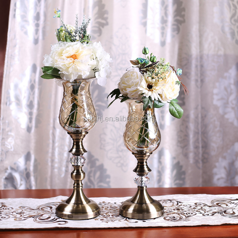 Golden Tall Crystal Glass Vase For Restaurant Table Centerpiece