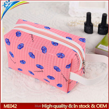 Popular Korea design lip shaped printing cosmetic bag Beauty makeup tote case Gift