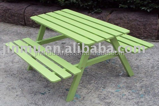 wooden picnic table and bench