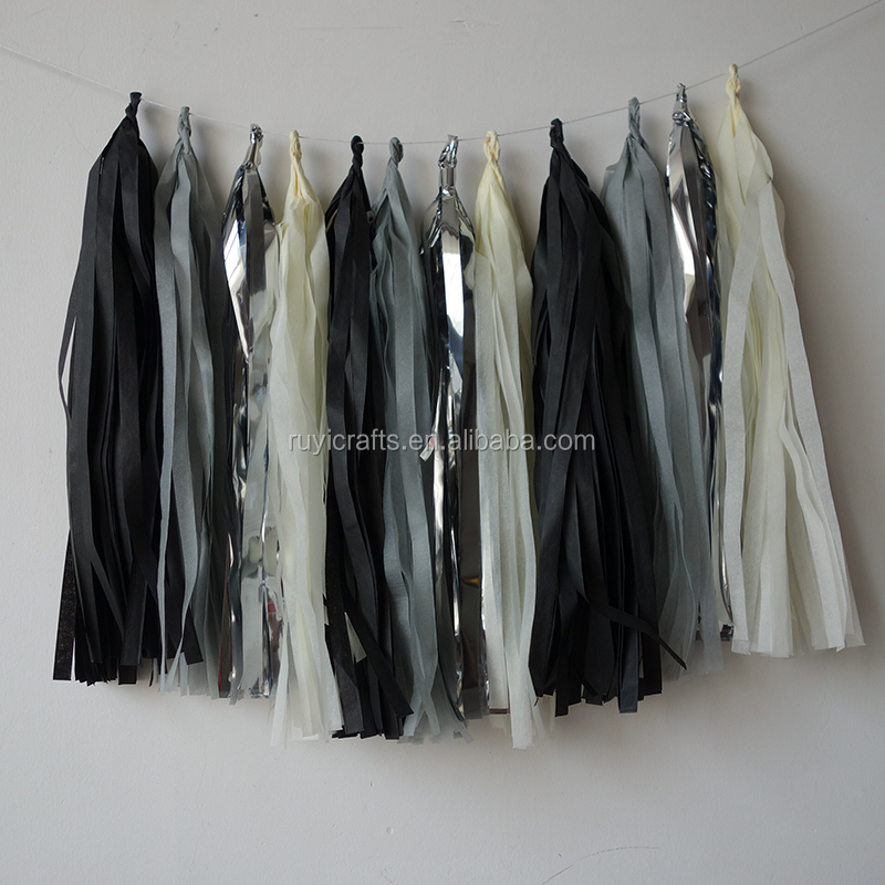 Black, Grey, Silver and Cream Handmad Tissue Paper Tassels Perfect Party Decoration for Bedrooms 18th Birthday Party Decorations