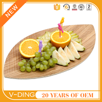 v-ding new products wooden leaf shape modern dinner plate bead storage trays and dessert