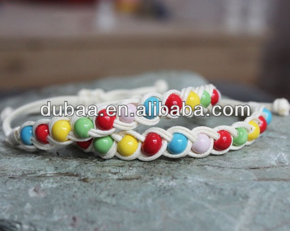 Yiwu Handmade Jewelry Factory Multicolor Cotton Cord Knitted Bracelet,Fashion Jewelry Ceramic Beaded Brecelets
