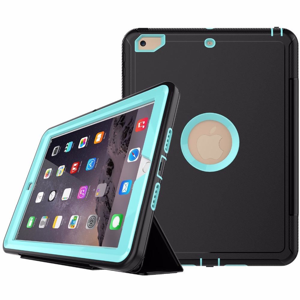 Auto Sleep Wake Leather Three Layer Dropproof Case for New iPad 2017 9. 7 Inch