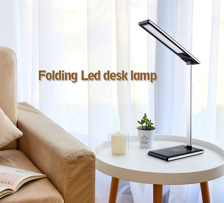 Wireless Charging LED Desk Lamp,foldable charging Table Lamp Dimmable Office Light with 2 Color Modes, 5 Brightness Levels