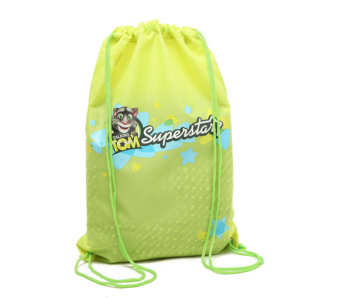 2016 customized promotional marathon sport school backpack polyester drawstring bag
