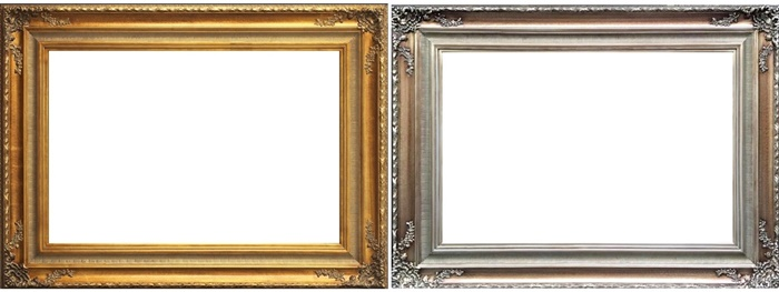 Antique French Rococo Style Gold/Silver Wood Painting Frames