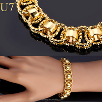 "Gold Bracelet With ""18K"" Stamp Trendy Platinum/18K Real Gold Plated 21 cm Unique Round Chain & Link Bracelets Men Jewelry"