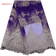 Purple African Tulle Lace Fabric High High Quality Net African Beaded Lace Fabric With Stones And Beads 922