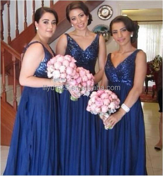 Vestidos De Festa Longo Sexy V-Neck Shining Sequin Royal Blue Bridesmaid Dresses 2016 New Arrival Free Shipping ML227