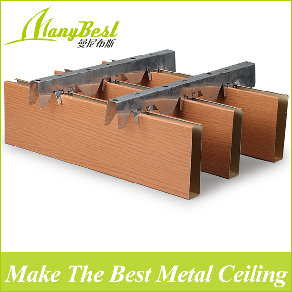 SGS 2017 Fashionable faux wood aluminum baffle ceiling